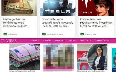 Anúncios 250 euros de corretoras fraudulentas