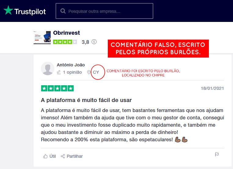 Comentário falso na fraude OBRinvest