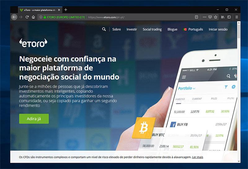 Site da corretora Forex Etoro