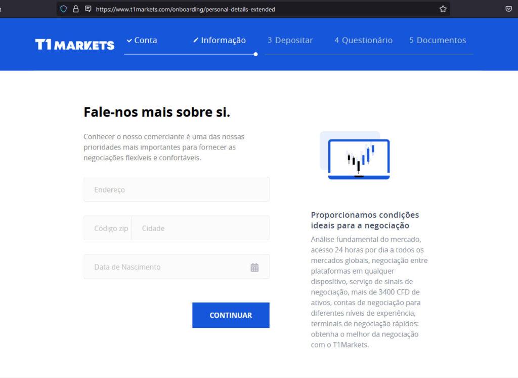 Site para abertura de conta na corretora fraude T1Markets
