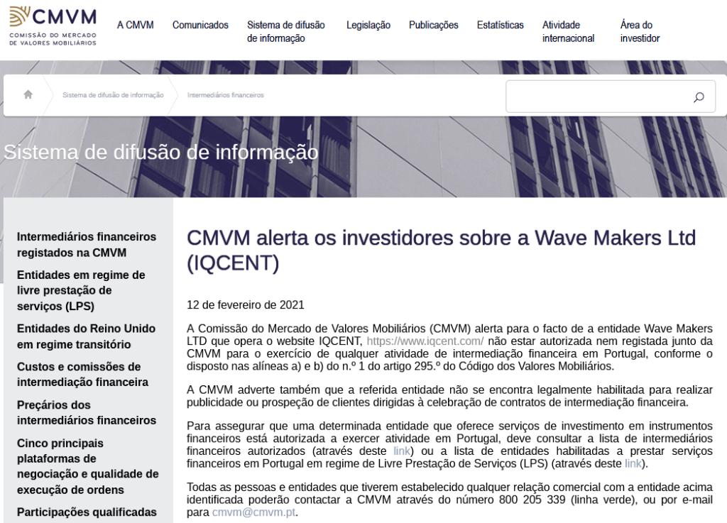 Denúncia da CMVM à IQCent
