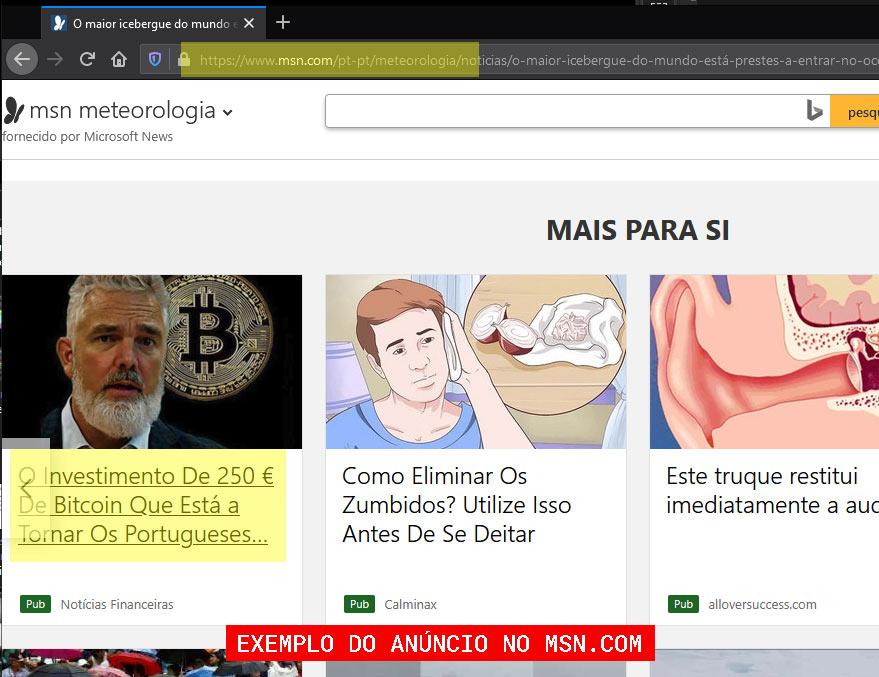Exemplo de anúncio falso no MSN.