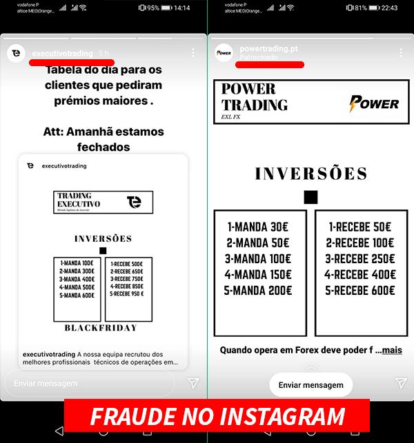 fraude trading instagram