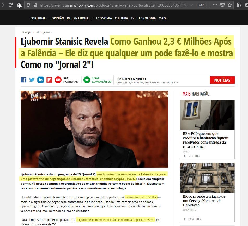 Página intermédia com mentiras sobre um famoso, o bitcoin e o site usado pelos burlões.