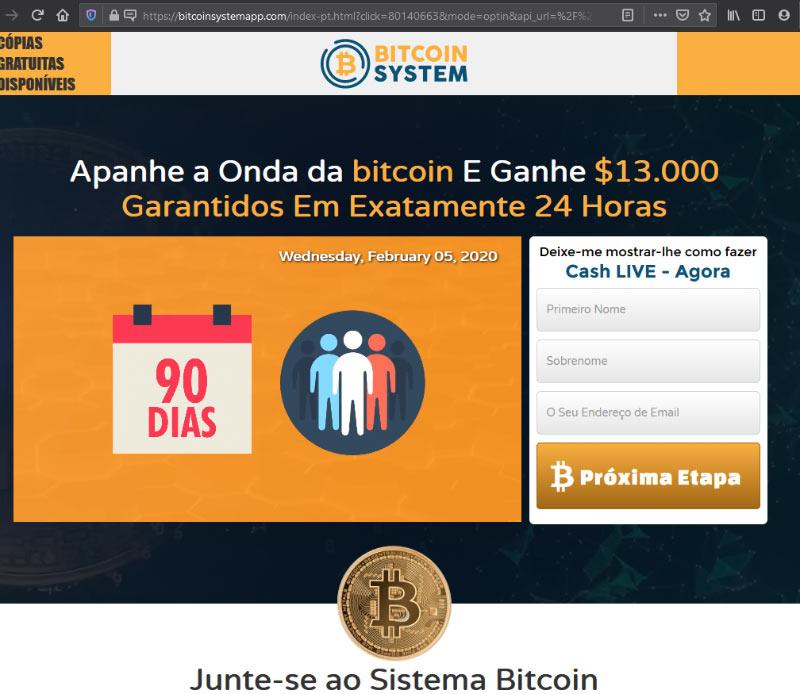 Página da fraude Bitcoin System