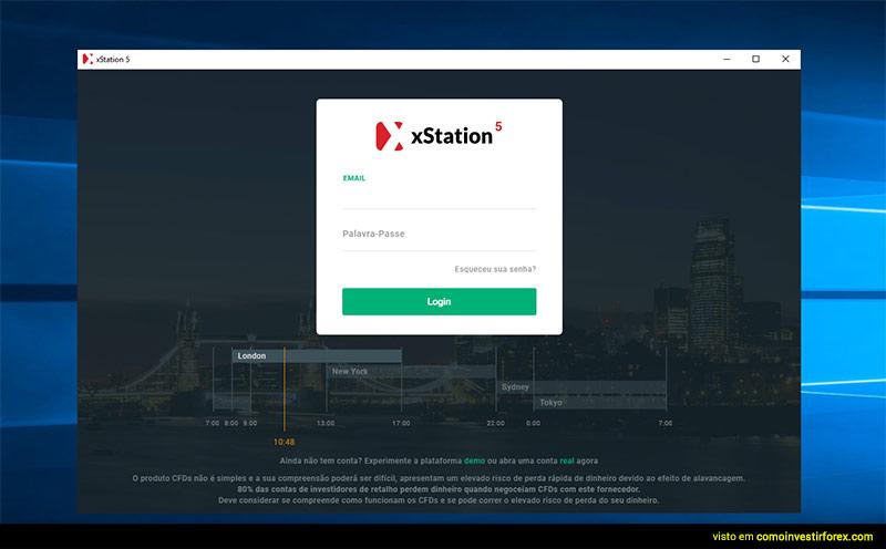 Ecrã de login na plataforma xStation 5 da XTB Online Trading