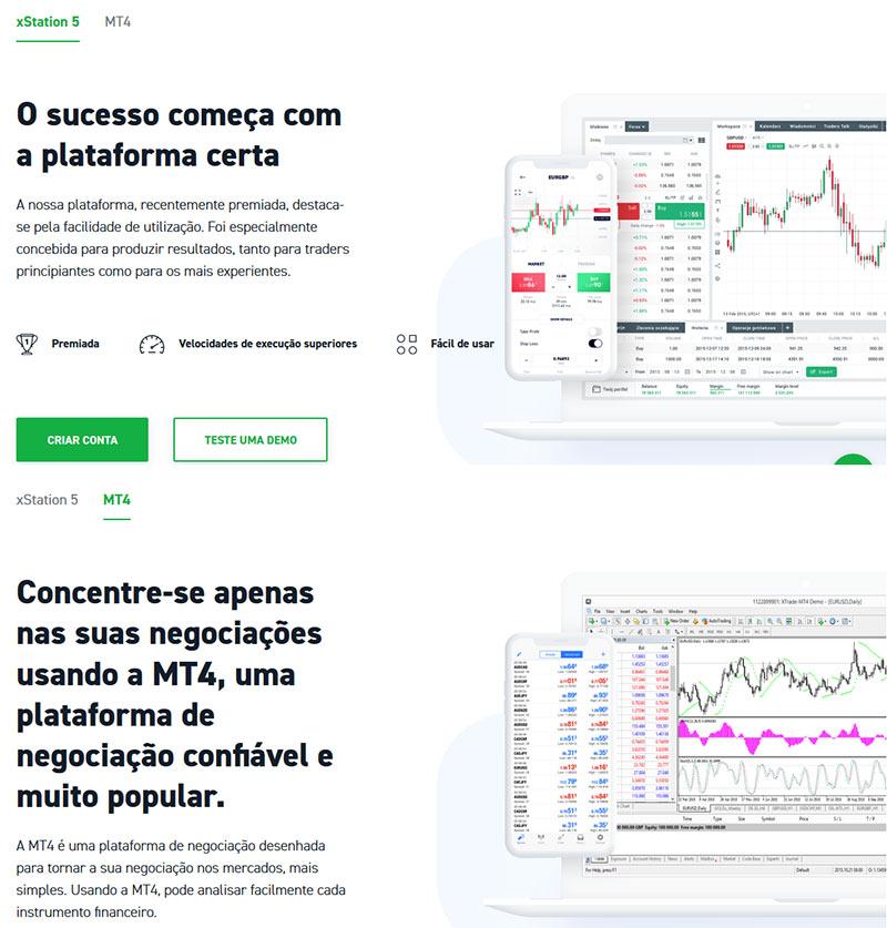 Plataformas de negociação disponíveis - Metatrader 4 e xStation 5