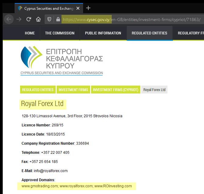 Registo da Royal Forex Ltd na CySEC é apenas uma maneira de garantir que o esquema tem mais sucesso