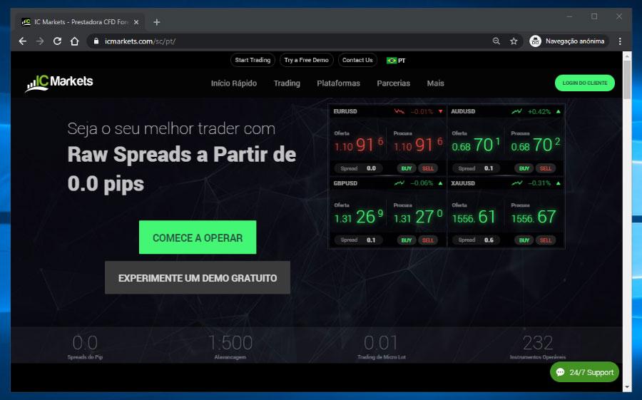 Site da corretora IC Markets