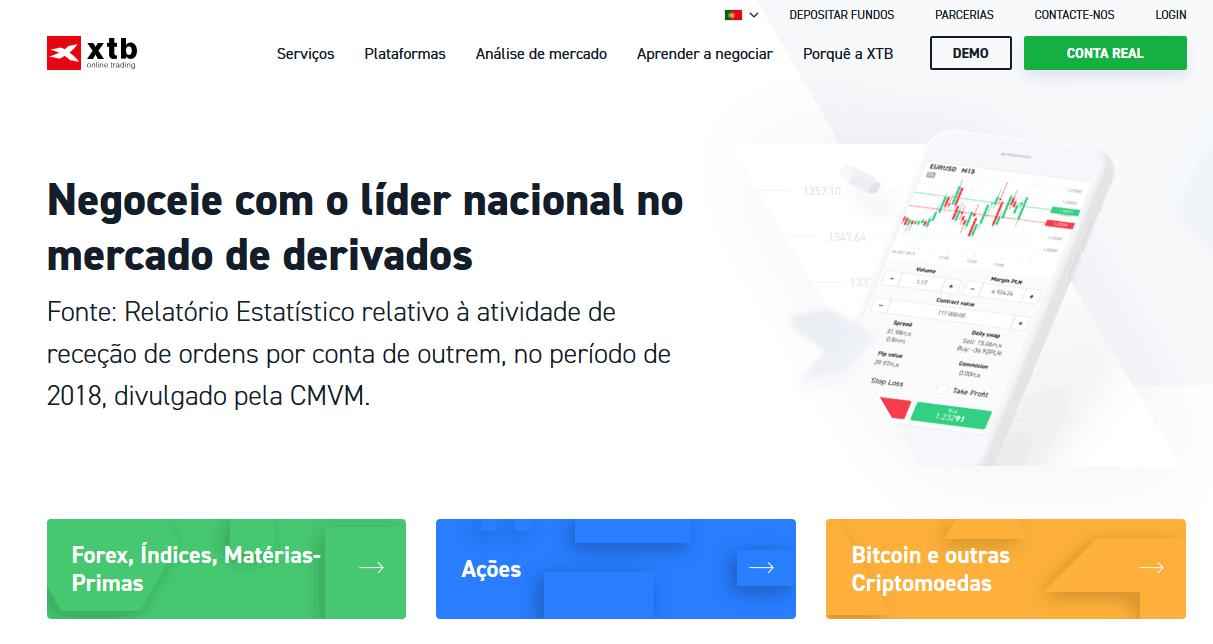 Site da corretora XTB Online Trading