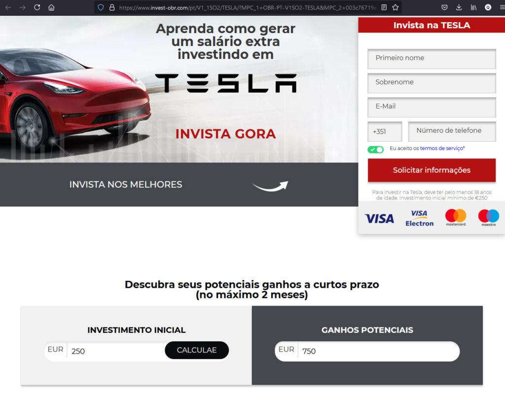Exemplo páginas de captura dos anúncios do esquema #anuncios250euros