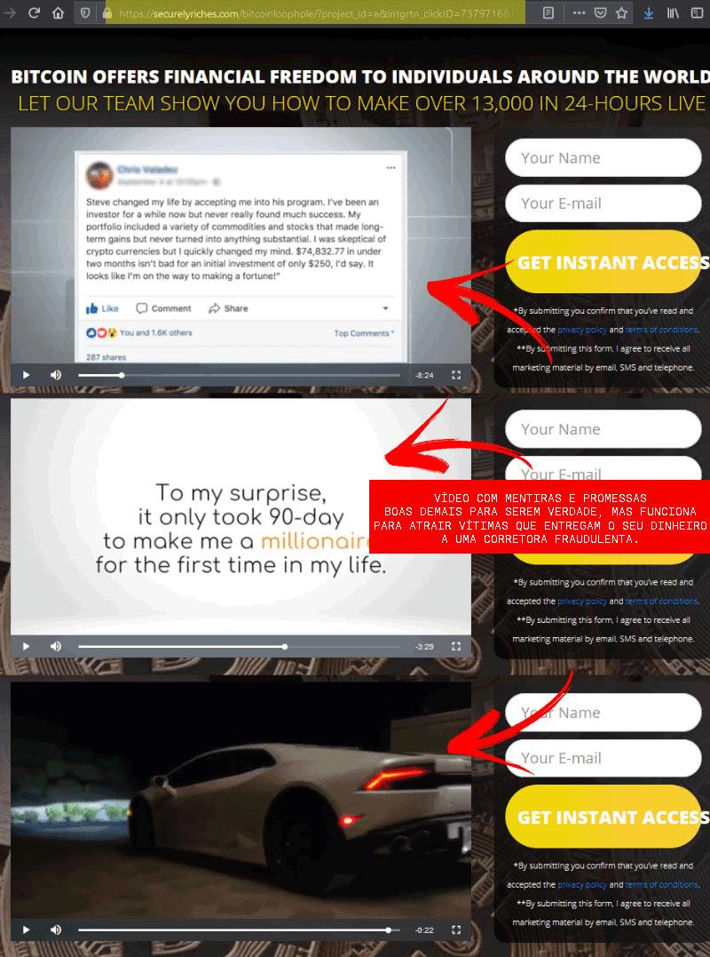 Vídeo com mentiras sobre a fraude Bitcoin